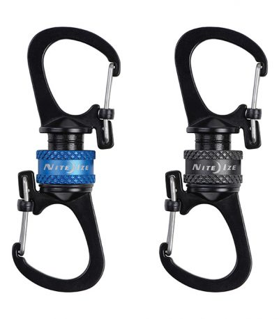 NIte Ize SlideLock 360 Magnetic Locking Dual Carabiner Black Blue
