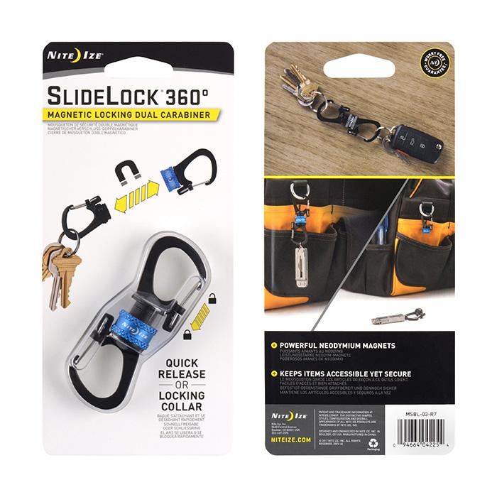 NIte Ize SlideLock 360 Magnetic Locking Dual Carabiner Black